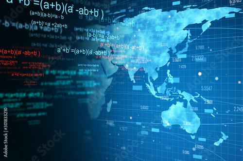 world map and mathematical formulas