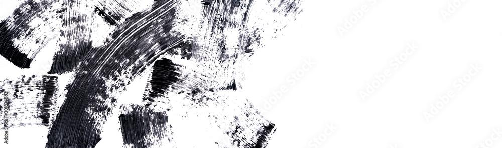 Fototapeta Black mascara smears on white background. Black strokes and texture mascara or acrylic on a white background. The layout for makeup. banner.