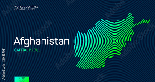 Abstract map of Afghanistan with circle lines Wallpaper Mural