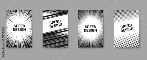 Obraz na plátně  Dynamic and speed design monochrome posters