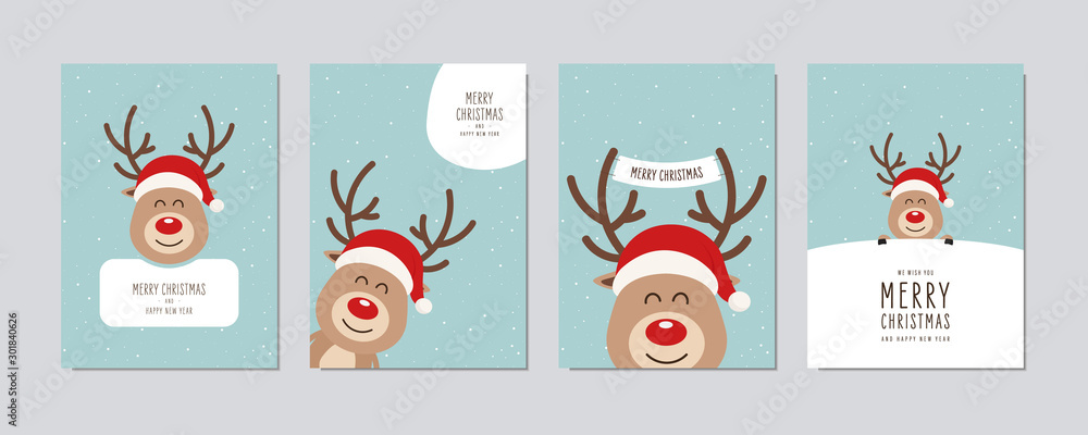 Fototapeta Christmas card set. Merry Christmas and Happy New Year greeting cute red nose cartoon reindeer with santa hat lettering vector.