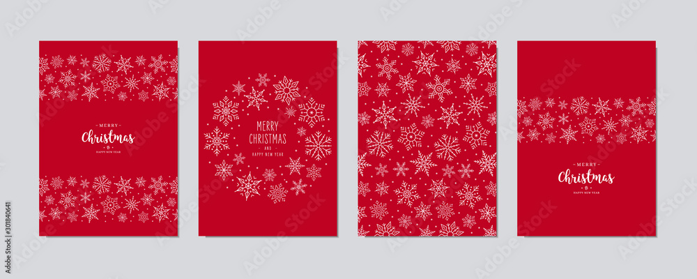 Fototapeta Christmas card set. Merry Christmas greeting text lettering snowflake card set red background vector.