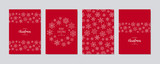 Christmas card set. Merry Christmas greeting text lettering snowflake card set red background vector.
