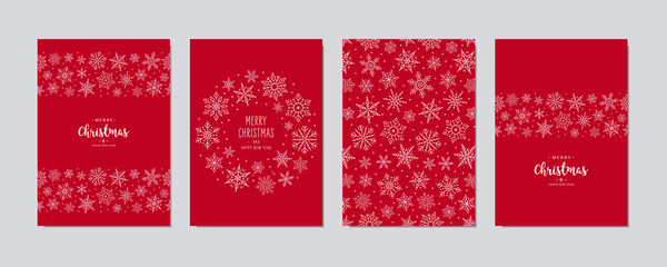 FototapetaChristmas card set. Merry Christmas greeting text lettering snowflake card set red background vector.