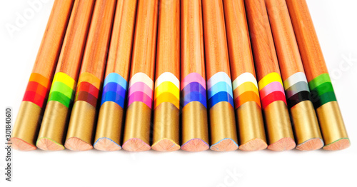 Special pencils with multicolour lead to produce varied trace #301840610