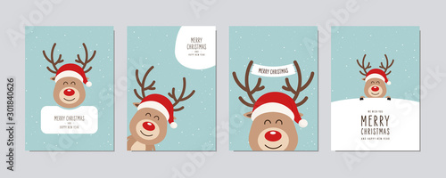 Obraz Christmas card set. Merry Christmas and Happy New Year greeting cute red nose cartoon reindeer with santa hat lettering vector. - fototapety do salonu