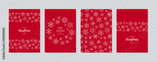 Montage in der Fensternische Logo Christmas card set. Merry Christmas greeting text lettering snowflake card set red background vector.