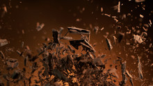 Flying Pieces Of Crushed Choco...