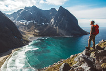 Man Stand On Cliff Edge Alone Enjoying Aerial View Backpacking Lifestyle Travel Adventure Outdoor Vacations