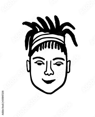 Fotografie, Obraz Doodle sketch of girl with dreadlocks.