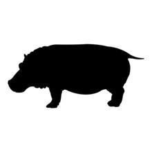 Hippo Silhouette Vector Illust...