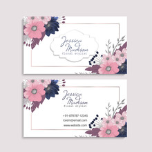 Business Card Flower - Pink And Blue Flowers