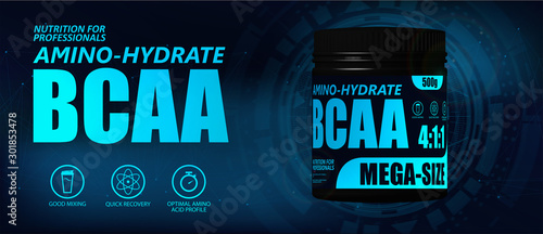 BCAA container with hi-tech background Canvas Print