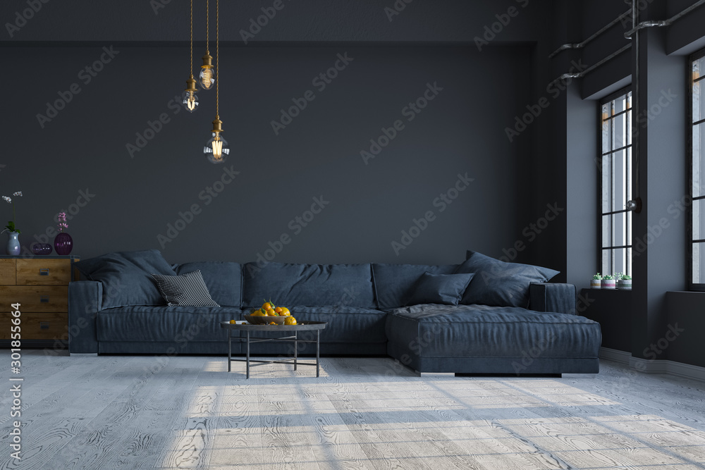 Fototapeta Modern interior design of a living room in an apartment, house, office, comfortable sofa, fresh flowers and bright modern interior details and sunbeams from a window on a dark wall background.