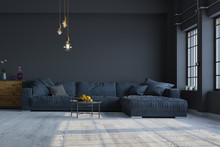 Modern Interior Design Of A Living Room In An Apartment, House, Office, Comfortable Sofa, Fresh Flowers And Bright Modern Interior Details And Sunbeams From A Window On A Dark Wall Background.
