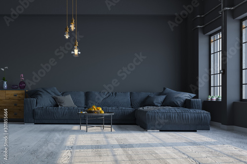 Fotomural  Modern interior design of a living room in an apartment, house, office, comfortable sofa, fresh flowers and bright modern interior details and sunbeams from a window on a dark wall background