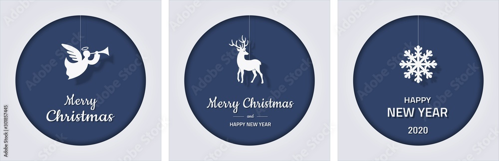 Fototapety, obrazy: set of square Christmas and new year greeting cards with snowflake, angel and deer on blue background