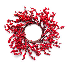 Christmas Holly Berry Wreath Isolated On White Background