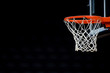 canvas print picture - Basketball hoop isolated on black background