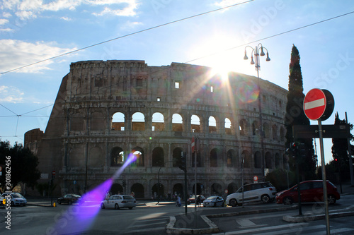 view of the colosseum in Rome Fototapet