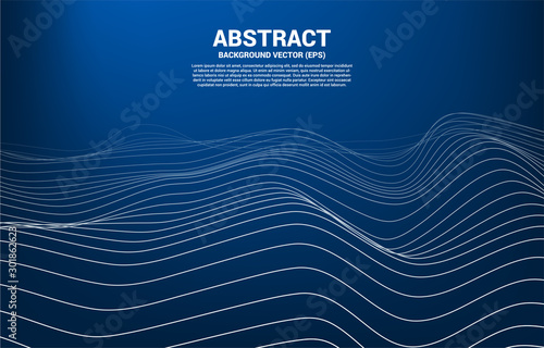 Digital Contour curve dot and line and wave with wireframe . Abstract Background for 3D Futuristic technology concept