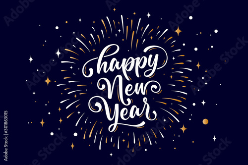 Happy New Year. Lettering text for Happy New Year Canvas Print