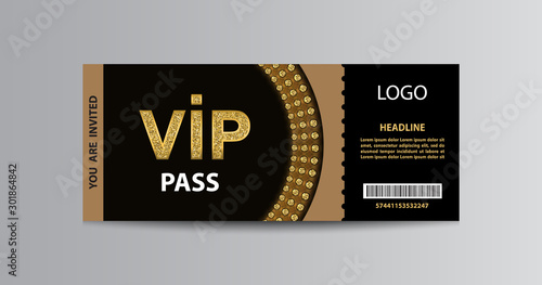 Fotomural VIP admission ticket template