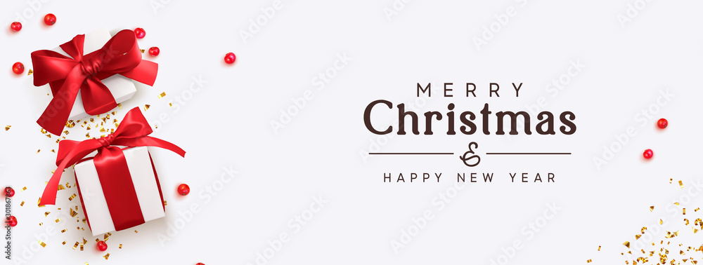 Fototapety, obrazy: Merry Christmas and Happy New Year. Background with realistic festive gifts box. Xmas present. red berries balls, glitter red confetti. Horizontal festive poster, headers for website