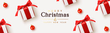 Holiday Banner Merry Christmas And Happy New Year. Realistic White Gifts Boxes. Pattern With Gift Box With Red Bow. Xmas Ornaments Baubles Balls. Horizontal Festive Poster, Headers For Website