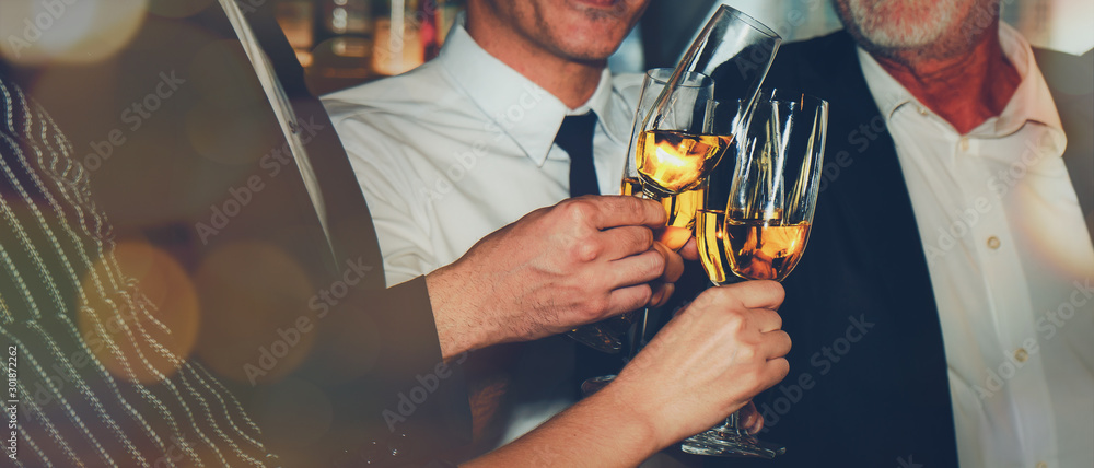 Fototapety, obrazy: business background of business party with business people toasting champagne togethet to celebrate success and happiness