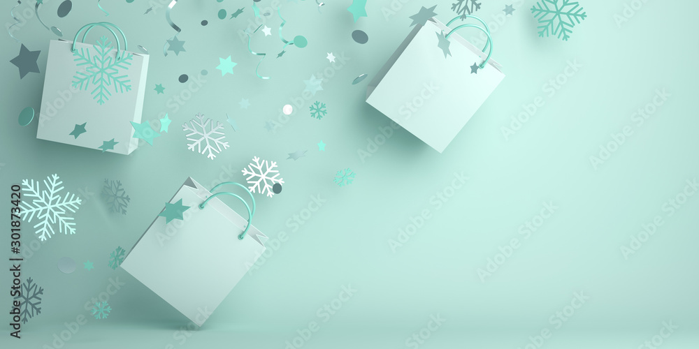 Fototapeta Winter abstract design creative concept, flying shopping bag, snow icon confetti glitter scattering on green mint background. 3D rendering illustration.