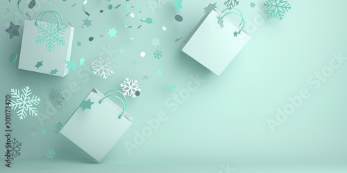 Fototapeta  Winter abstract design creative concept, flying shopping bag, snow icon confetti glitter scattering on green mint background