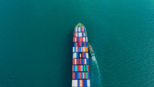 Aerial View Cargo Ship Of Busi...