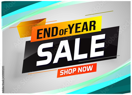 Fotografía  End of year Sale word concept vector illustration with lines and 3d style, landi