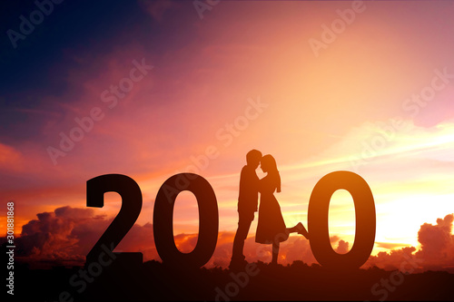 2020 Newyear Silhouette young couple Happy for  romantic new year concept Wallpaper Mural