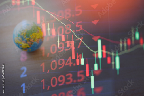 Cuadros en Lienzo World economy crisis stock market exchange loss forex trading graph investment i