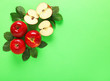 canvas print picture - Fresh ripe apples on color background