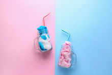 Jars With Tasty Cotton Candy O...