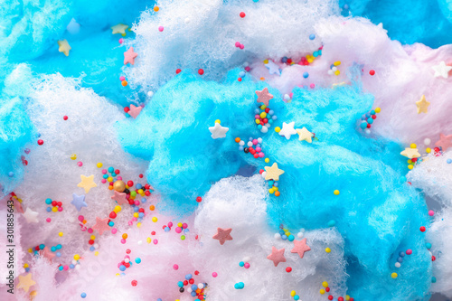 Tasty cotton candy with sprinkles, closeup Wallpaper Mural