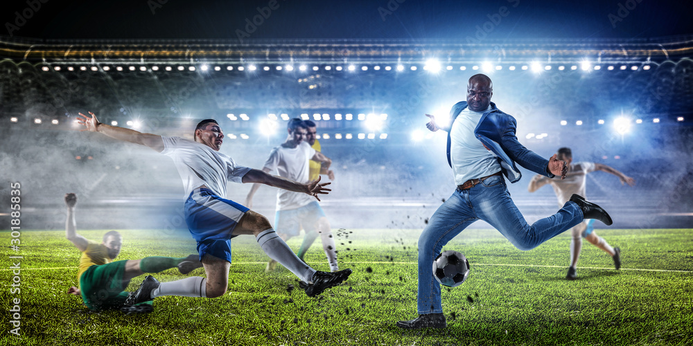 Fototapety, obrazy: Soccer man in action with ball. Mixed media