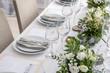 Leinwandbild Motiv Beautiful table setting for wedding celebration in restaurant