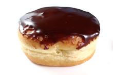 Boston Cream Donut Isolated On White, Shallow Focus