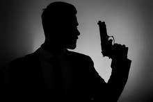 Silhouette Of Male Agent With ...