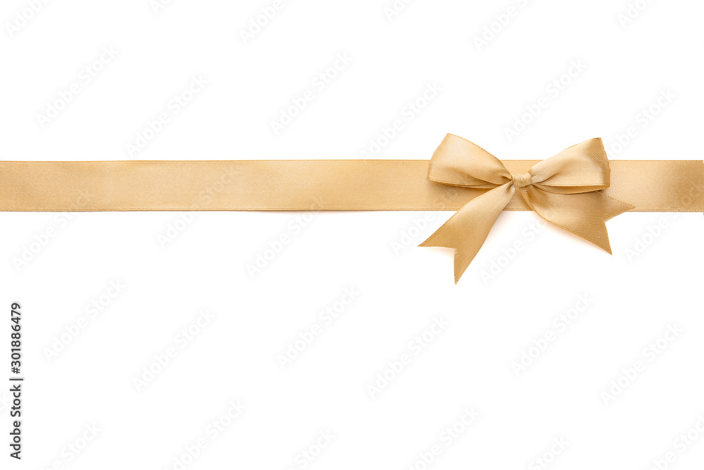 Fototapeta Golden ribbon with beautiful bow on white background