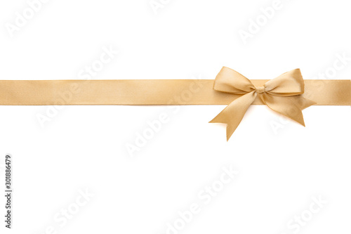 Golden ribbon with beautiful bow on white background Tablou Canvas