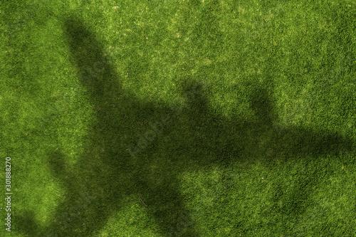 Montage in der Fensternische Grun Airplane shadow on green field