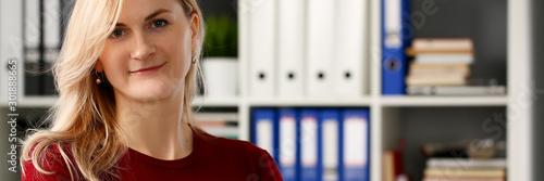 Happy smiling blond businesswoman holdig Tableau sur Toile