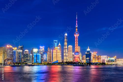 Foto auf Leinwand Shanghai Beautiful night,architectural landscape and blue sky in Shanghai