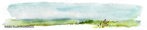 Tuinposter Wit Hand Drawn Traditional Watercolor European Panoramic Landscape