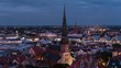 Establishing Aerial View of Riga at night, Riga Skyline, Latvia